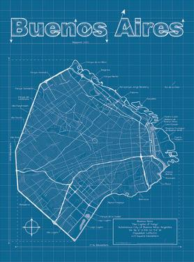 Buenos Aires Artistic Blueprint Map by Christopher Estes