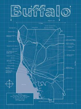 Buffalo Artistic Blueprint Map by Christopher Estes