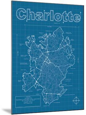 Charlotte Artistic Blueprint Map by Christopher Estes