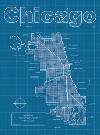 Chicago Artistic Blueprint Map by Christopher Estes