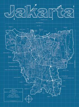 Jakarta Artistic Blueprint Map by Christopher Estes
