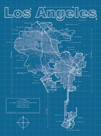 Los Angeles Artistic Blueprint Map by Christopher Estes