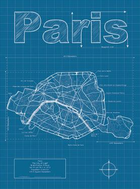 Paris Artistic Blueprint Map by Christopher Estes