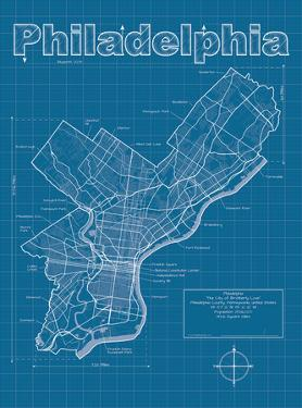 Philadelphia Artistic Blueprint Map by Christopher Estes
