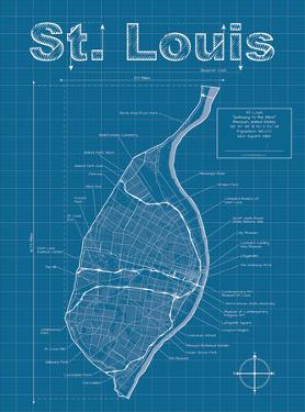St Louis Artistic Blueprint Map by Christopher Estes