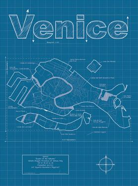 Venice Artistic Blueprint Map by Christopher Estes
