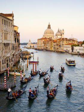 Flotilla of Gondolas Heading Toward Chiesa Di Santa Maria Della Salute in Early Evening by Christopher Groenhout