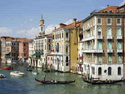 Gondolas and Other Watercraft on Grand Canal by Christopher Groenhout