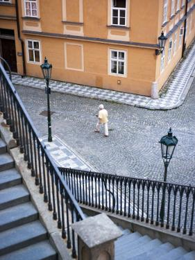 Stairs and Woman Walking, from Charles Bridge by Christopher Groenhout