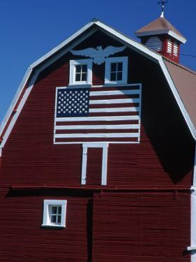 Barn with American Flag, Palouse County, WA by Christopher Jacobson