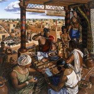 While a Local Merchant Weighs Beads, Traders Wait to Sell their Goods by Christopher Klein