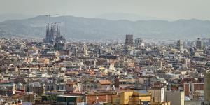 Spain, Barcelona. The cityscape viewed from the Palau Nacional. by Christopher Reed