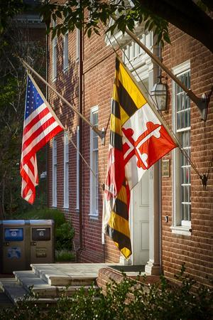 State and National U.S. Flags, Annapolis, Maryland, USA