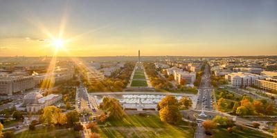 USA, Washington DC. Autumn sunset over the National Mall.