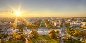 USA, Washington DC. Autumn sunset over the National Mall. by Christopher Reed