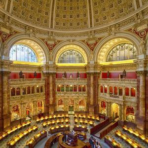 USA, Washington DC. The main reading room of the Library of Congress. by Christopher Reed