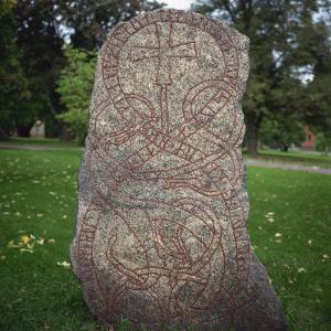 An 11th Century Viking Runestone from Lagga Parish, Uppsala, Sweden, Scandinavia, Europe by Christopher Rennie