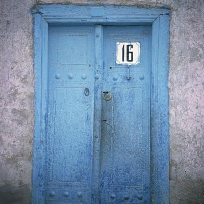 Blue Door in the Jewish Quarter of the City of Bukhara, Uzbekistan, Central Asia