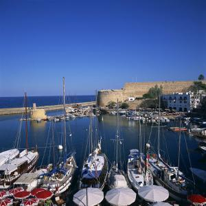 Boats in Harbour and Kyrenia Castle, Kyrenia, North Cyprus by Christopher Rennie