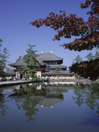 Exterior of Daibutsen-Den Hall of the Great Buddha, Dating from 1709, Reflected in Water, Nara