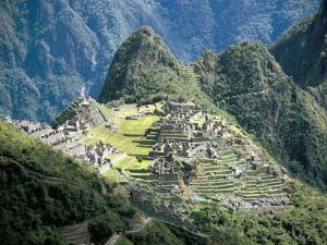 Looking Down onto the Inca City from the Inca Trail, Machu Picchu, Unesco World Heritage Site, Peru by Christopher Rennie