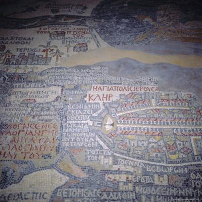 Madaba Mosaic Map, 6th Century AD, Detail Showing Jerusalem, Madaba, Jordan, Middle East by Christopher Rennie