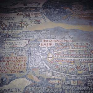 Madaba Mosaic Map, 6th Century AD, Detail Showing Jerusalem, Madaba, Jordan, Middle East by Christopher Rennie