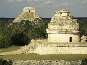 Mayan Observatory and the Great Pyramid Beyond, Chichen Itza, Unesco World Heritage Site, Mexico by Christopher Rennie
