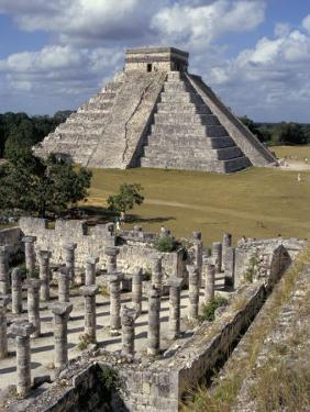 One Thousand Mayan Columns and the Great Pyramid El Castillo, Chichen Itza, Mexico by Christopher Rennie