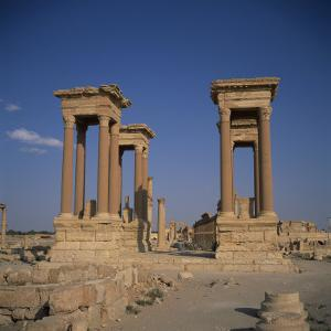 Tetrapylon and the Columned Main Street Dating from the 1st Century AD, Palmyra, Syria by Christopher Rennie