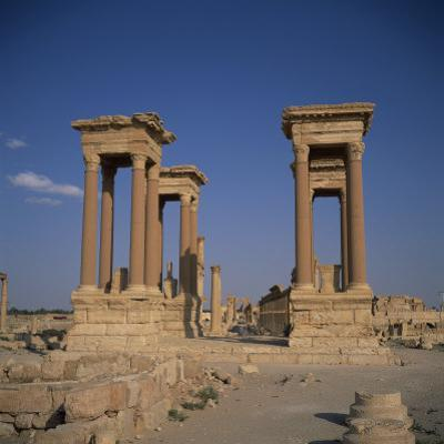 Tetrapylon and the Columned Main Street Dating from the 1st Century AD, Palmyra, Syria