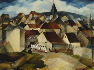 A Village Procession, France, C.1923 by Christopher Richard Wynne Nevinson