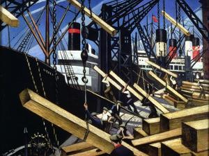 Loading Timber, Southampton Docks, 1916-17 by Christopher Richard Wynne Nevinson