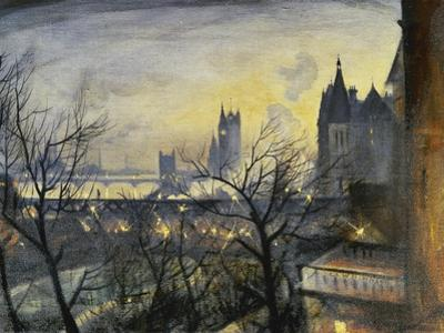 London Twilight from the Adelphi by Christopher Richard Wynne Nevinson
