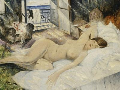 Nude on a Bed, South of France by Christopher Richard Wynne Nevinson