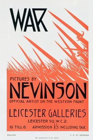 War Pictures by Nevinson, Official Artist on the Western Front, Poster for an Exhibition by Christopher Richard Wynne Nevinson