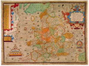 Ancient Map of England 1579 by Christopher Saxton