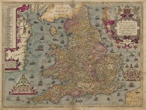 Anglia: England and Wales, 1579 by Christopher Saxton