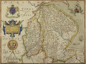 Map Of Lincolnshire and Nottinghamshire by Christopher Saxton
