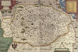 Map of Norfolk in 1574 by Christopher Saxton