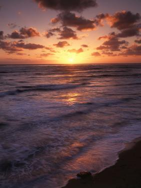 California, San Diego, Sunset Cliffs, Waves Crashing on a Beach by Christopher Talbot Frank