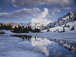 California, Sierra Nevada, Dana Peak Reflecting in a Frozen Lake by Christopher Talbot Frank