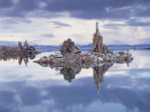 California, Sierra Nevada, Snow on Tufa Formations in Mono Lake by Christopher Talbot Frank