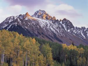 Colorado, San Juan Mts, Fall Colors of Aspen Trees and Mount Sneffels by Christopher Talbot Frank