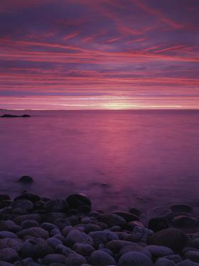 Maine, Acadia National Park, Sunrise over the Rocky Shoreline of the Beach by Christopher Talbot Frank