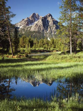 USA, Idaho, Sawtooth Wilderness, a Peak Reflecting in a Meadow Pond by Christopher Talbot Frank