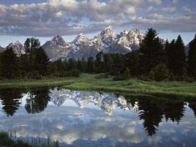 Wyoming, Grand Teton NP, the Grand Tetons and Clouds