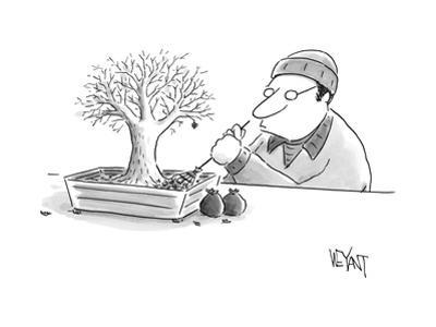 (A man rakes leaves in a tiny bonsai tree.  - New Yorker Cartoon by Christopher Weyant