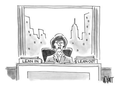 An executive sits before a 'Lean In' and 'Lean Out' box. - Cartoon by Christopher Weyant