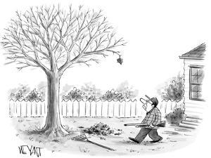 Man gets shotgun to shoot down the one remaining leaf on his tree. - New Yorker Cartoon by Christopher Weyant